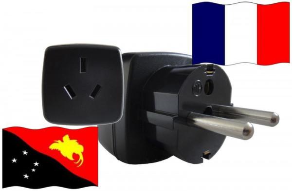 Urlaubs-Reisestecker mit Schutzkontakt für Frankreich 250 Volt Papua Neuguinea Reiseadapter