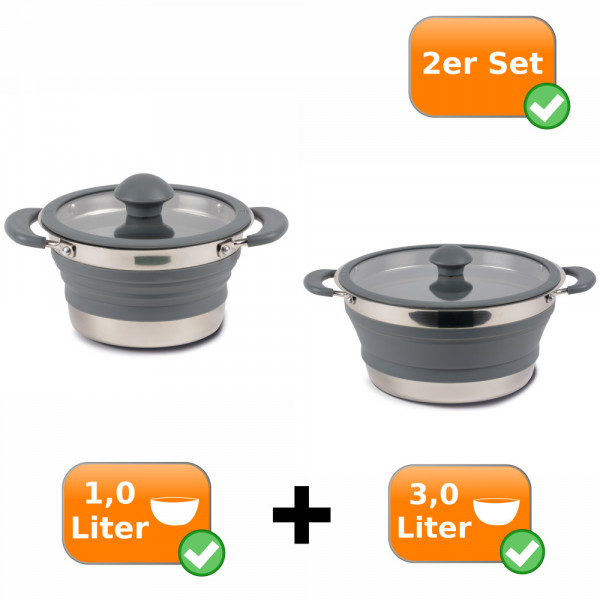 Faltbare Kochtöpfe - 2er Set - Camping Kochtöpfe zum Falten 1,0 + 3,0 Liter grau