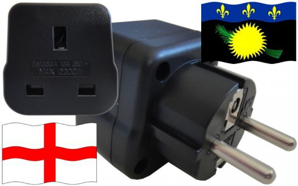 Reiseadapter Guadeloupe für Geräte aus England