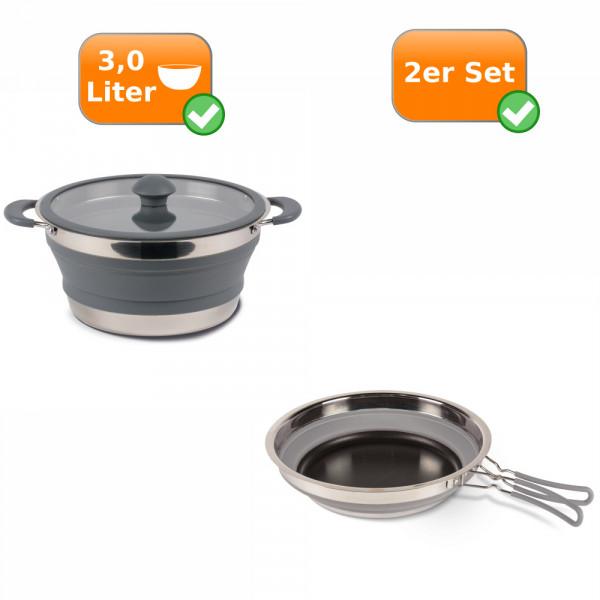 Faltbares Küchenset - 2er Reise Set - Camping 3,0 Liter Kochtopf + Pfanne grau