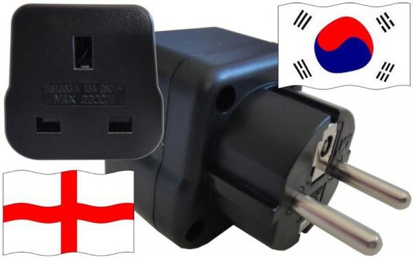 Reiseadapter Südkorea für Geräte aus England
