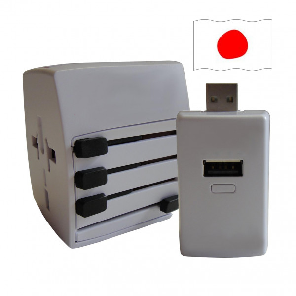 Welt Reisestecker Japan mit 2 USB Ports + extra Powerbank
