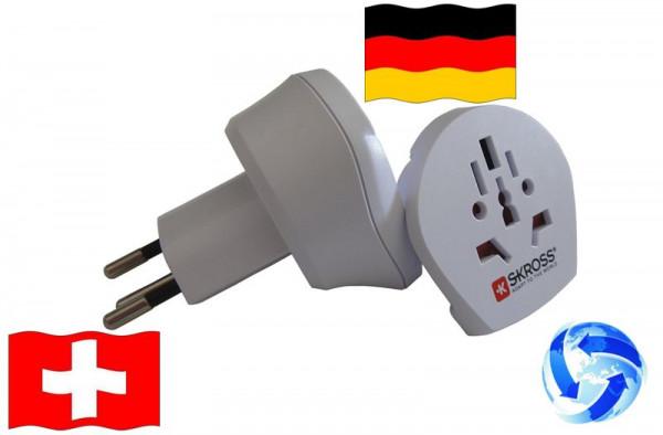Reiseadapter Welt auf Schweiz + Deutschland - Kombi Adapter 1.500206