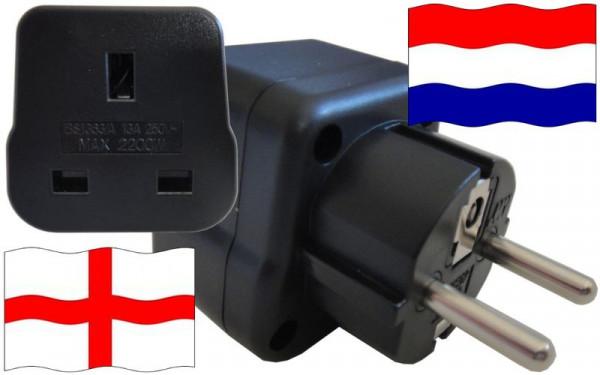 Reiseadapter Niederlande für Geräte aus England