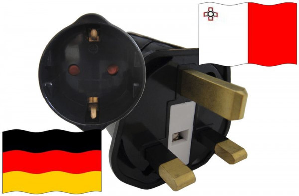 Urlaubsstecker Malta für Geräte aus Deutschland