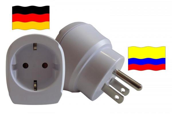 Reiseadapter für Kolumbien. Steckeradapter für Geräte aus Deutschland