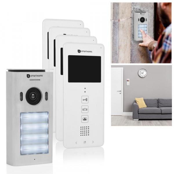 Video Türsprechanlage mit vier 3,5 Zoll Farbdisplays Smartwares DIC-22142