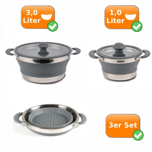 Fatlbares Küchenset - 3er Reise Set - Camping 1 Liter Topf + 3 Liter Topf + Sieb