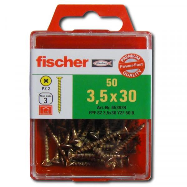 Fischer Power-Fast 3,5x30 Senkk. gevz VG PZ Box 653934 50Stk.