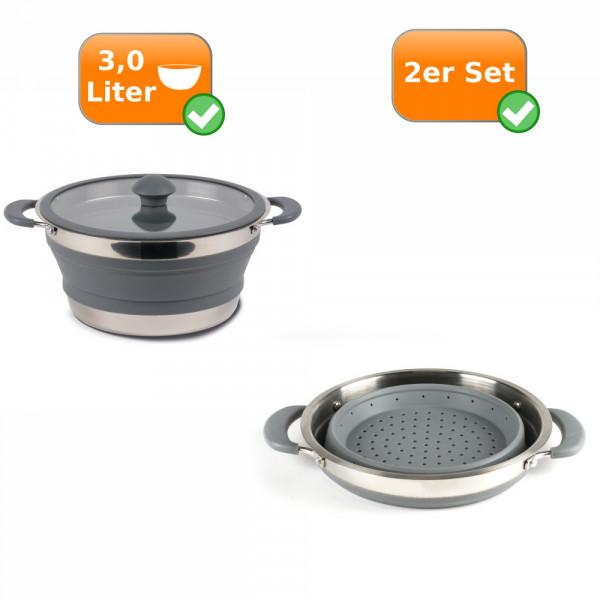 Faltbares Küchenset - 2er Reise Set - Camping 3,0 Liter Kochtopf + Sieb grau