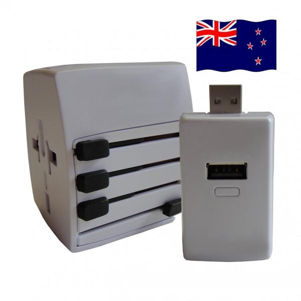 Welt Reisestecker Neuseeland mit 2 USB Ports + extra Powerbank