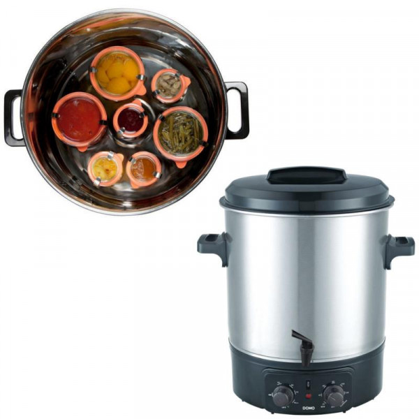 Edelstahl Einkochtopf + Glühwein-Topf + Zapfhahn Domo DO323W 27 Liter Einweckkochtopf