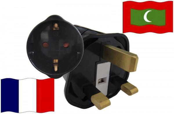Urlaubsstecker Malediven für Geräte aus Frankreich