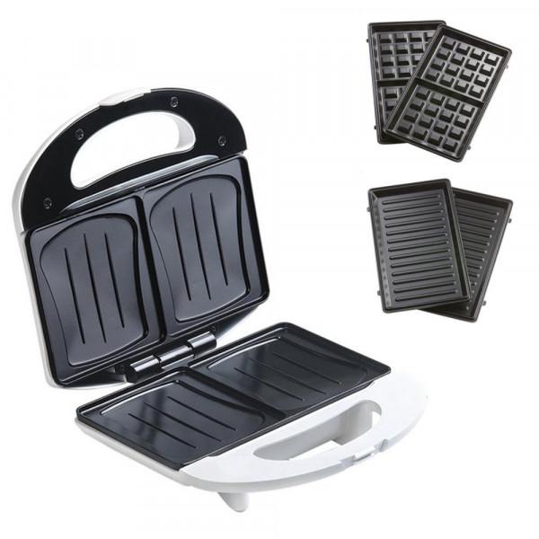 3in1 Sandwich-Toaster + Waffeleisen + Grill in einem, 750 Watt DOMO DO9122C