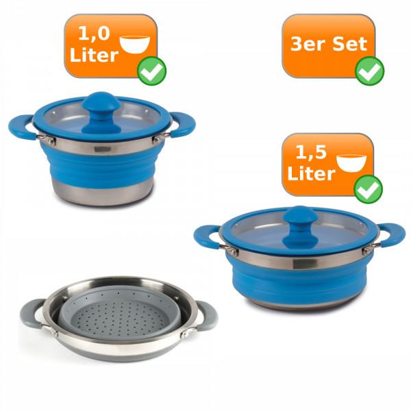 Faltbares Küchenset -3er Reise Set- 1Liter Topf & 1,5Liter Topf blau + Sieb grau