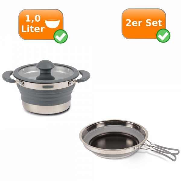 Faltbares Küchenset - 2er Reise Set - Camping 1 Liter Kochtopf + Pfanne grau