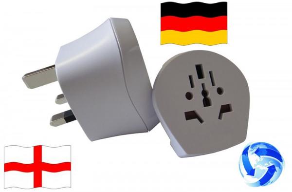 Reiseadapter Welt auf England + Deutschland Kombi Adapter UK 1.500231