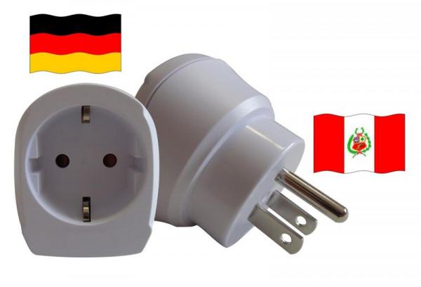 Reiseadapter für Peru. Steckeradapter für Geräte aus Deutschland