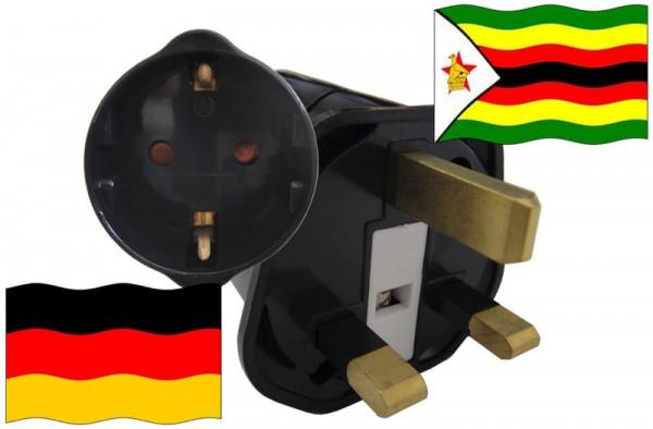 Urlaubsstecker Simbabwe für Geräte aus Deutschland