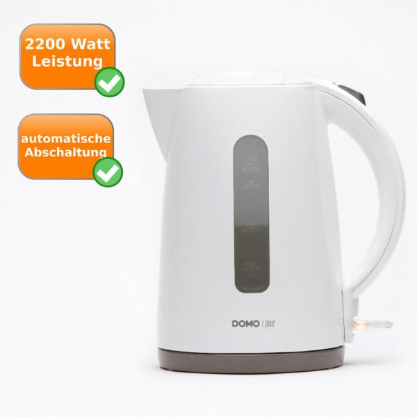 Wasserkocher 1,7 Liter Fassungsvermögen 2200 Watt DOMO Puur DO9134WK